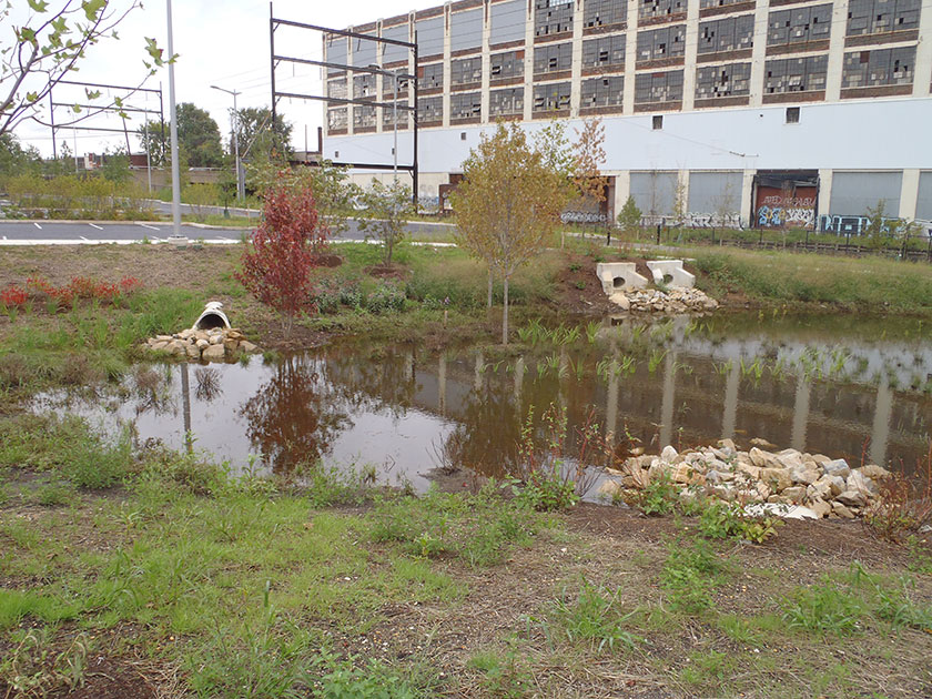 4 7 ponds and wet basins philadelphia water stormwater for Design of stormwater detention ponds